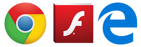 Adobe Flash, Edge,  Google Chrome logo