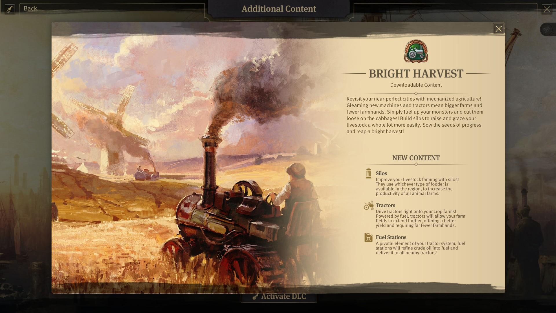 Bright Harvest main menu info