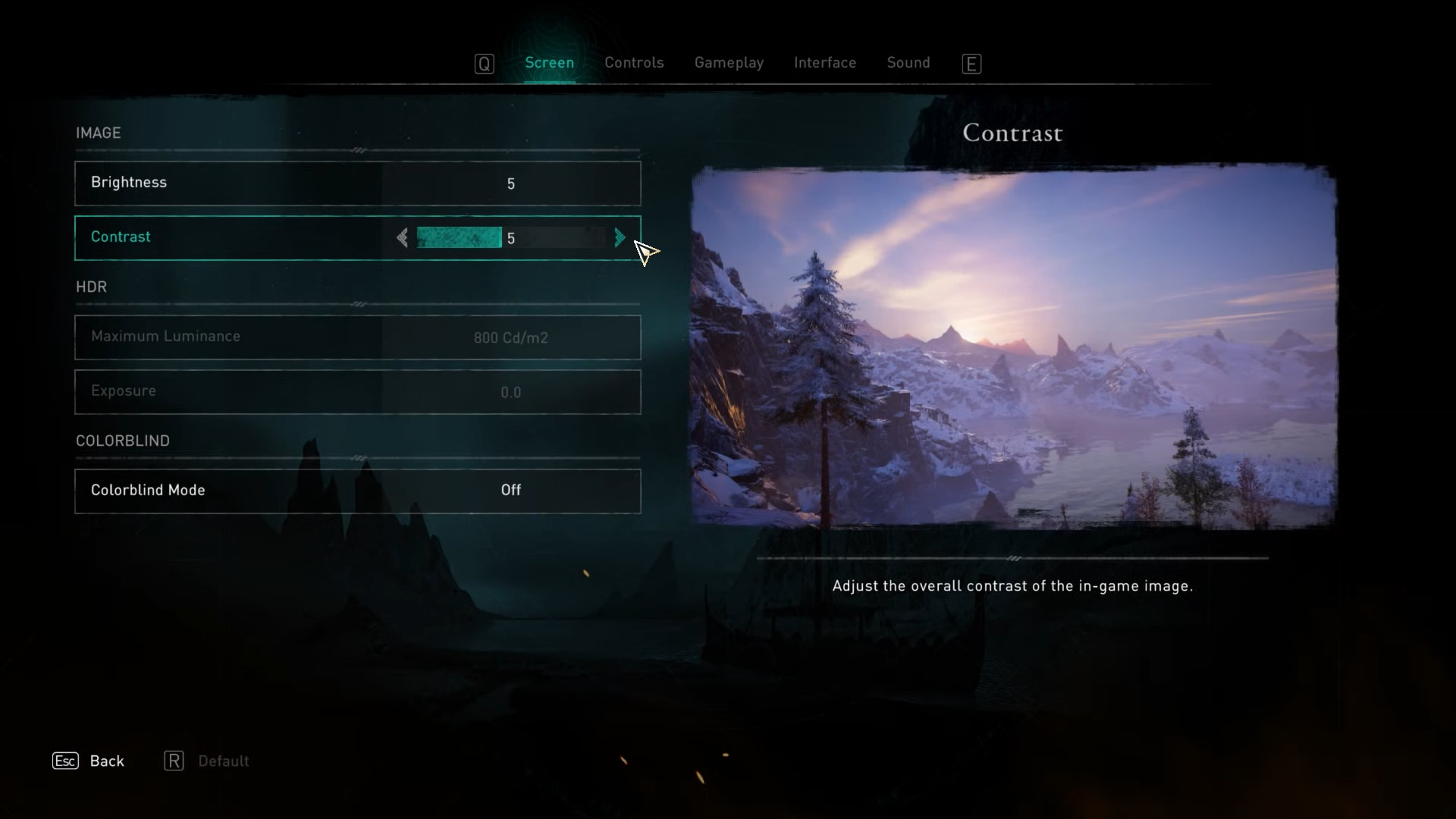 Brightness and contrast options in the screen options of Assassin's Creed Valhalla