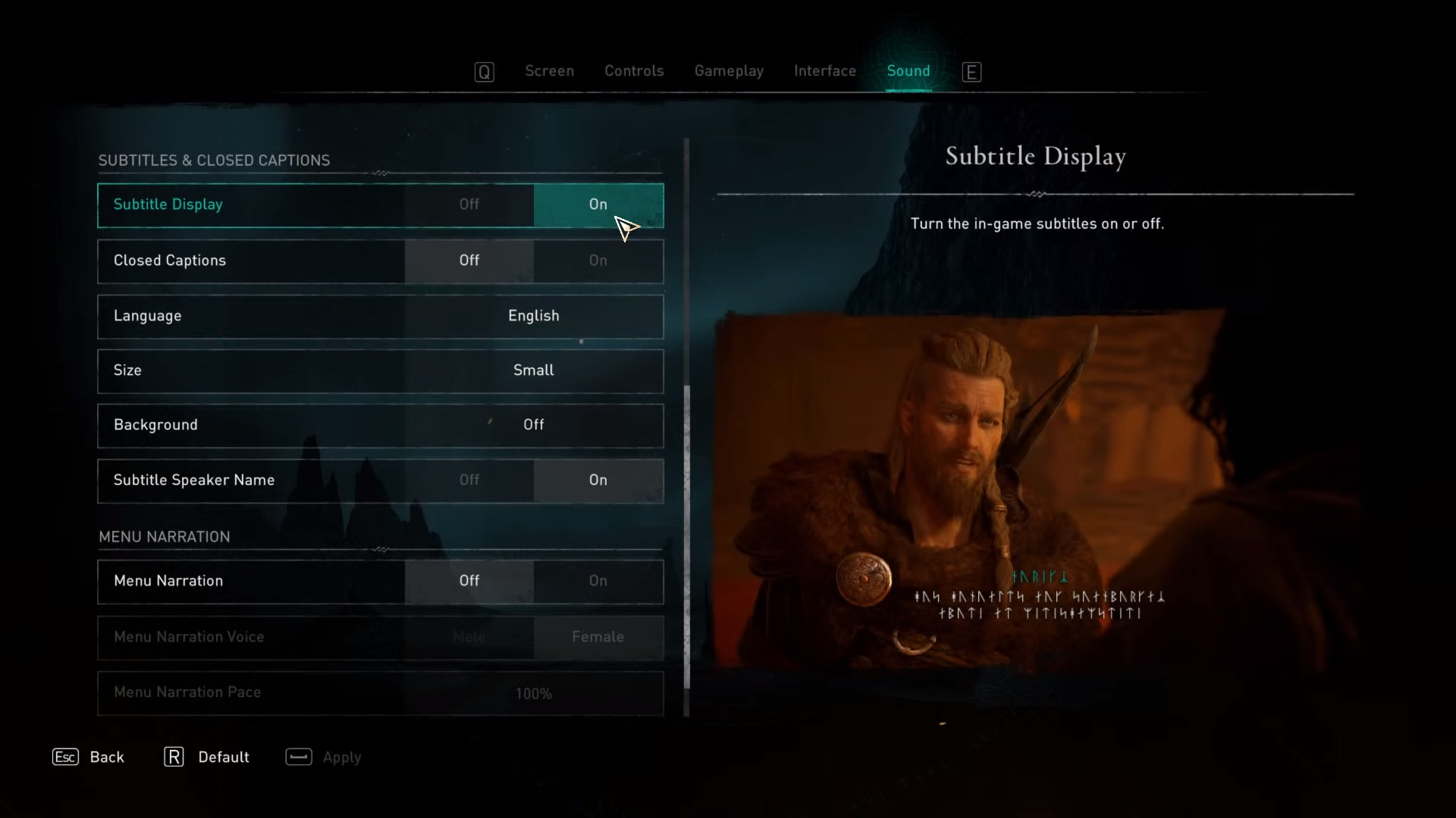 Subtitles toggled on in the sound options of Assassin's Creed Valhalla
