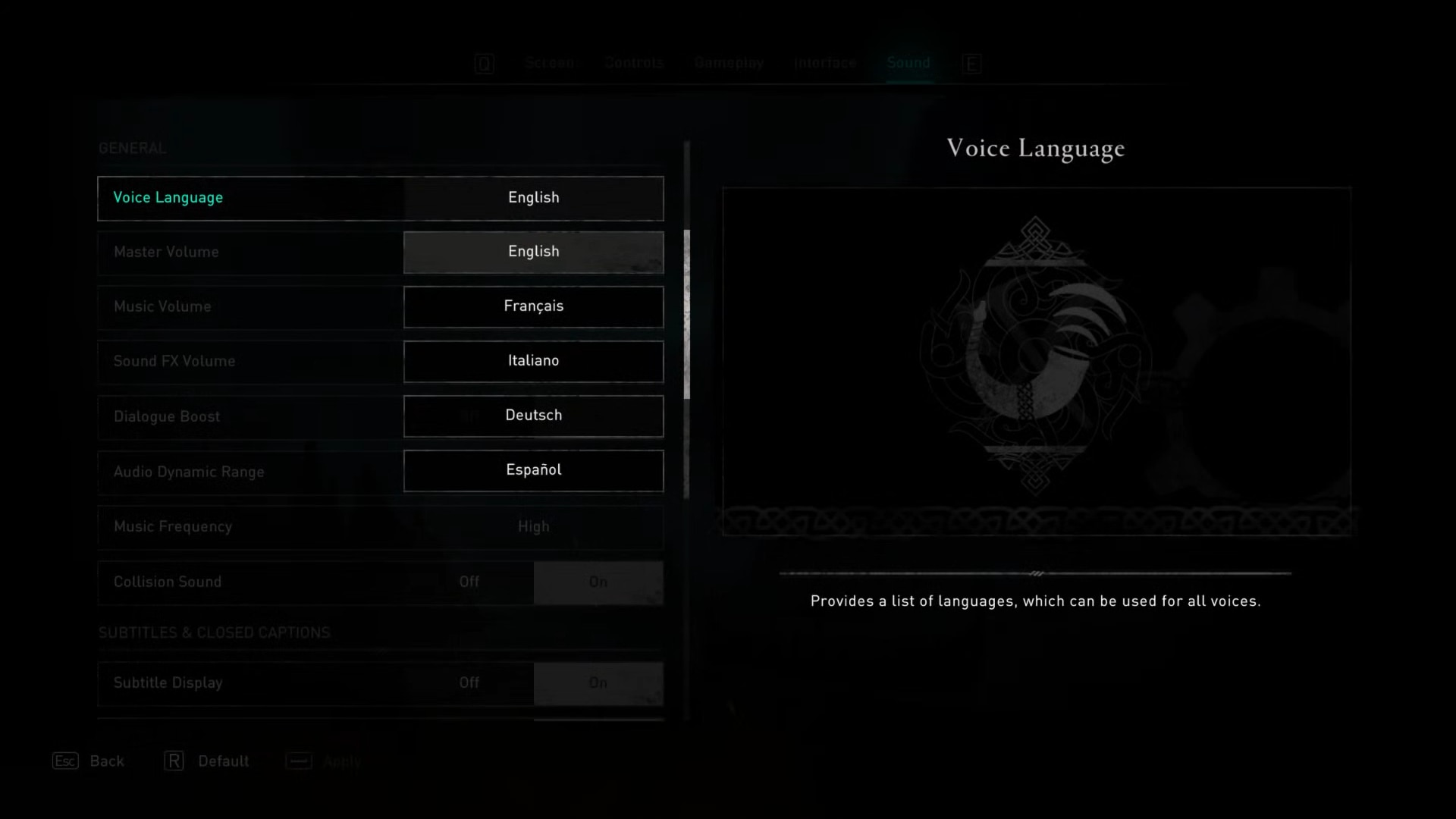 Language options for voice languages in sound options of Assassin's Creed Valhalla