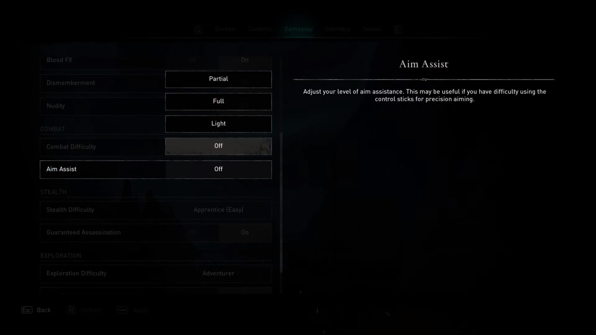 Aim Assist option in the Assassin's Creed Valhalla gameplay options.