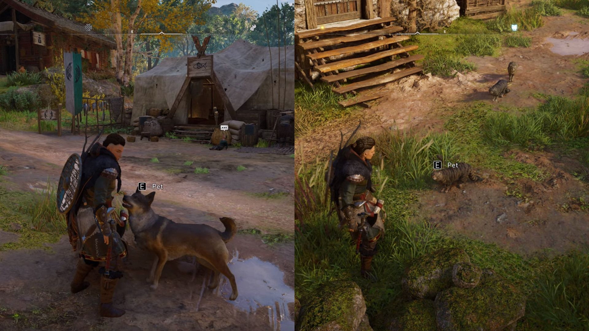Prompt appearing above cats and dogs for petting in Assassin's Creed Valhalla.
