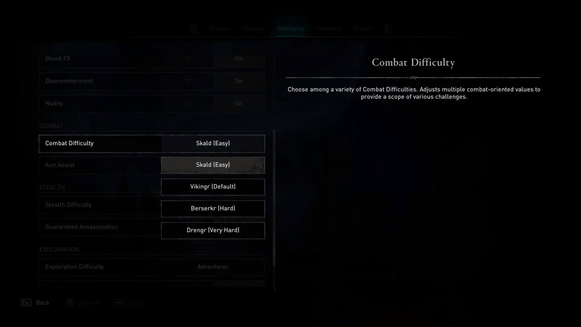 Combat difficulty option in the gameplay options of Assassin's Creed Valhalla