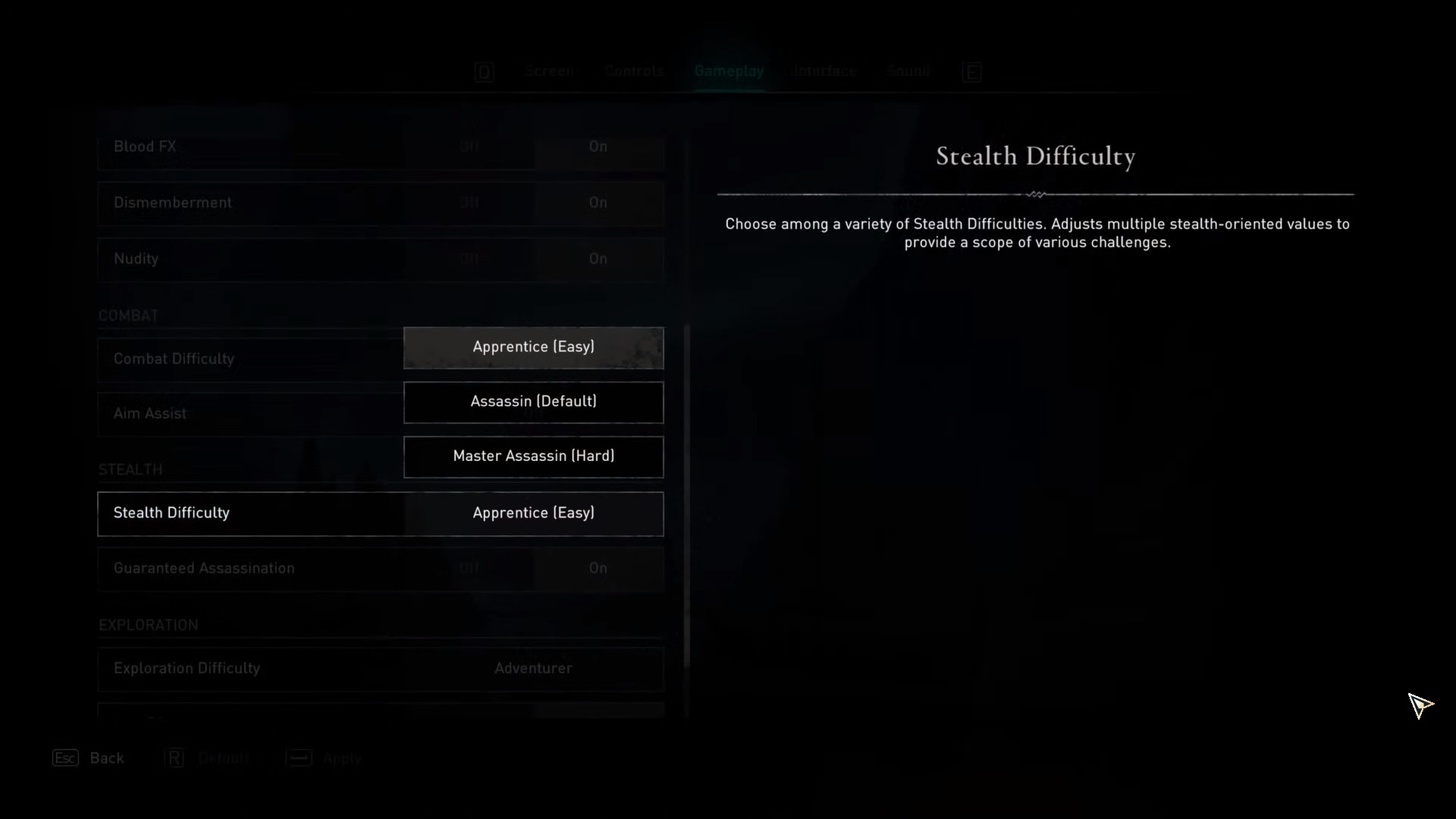 Stealth difficulty option in the gameplay options of Assassin's Creed Valhalla