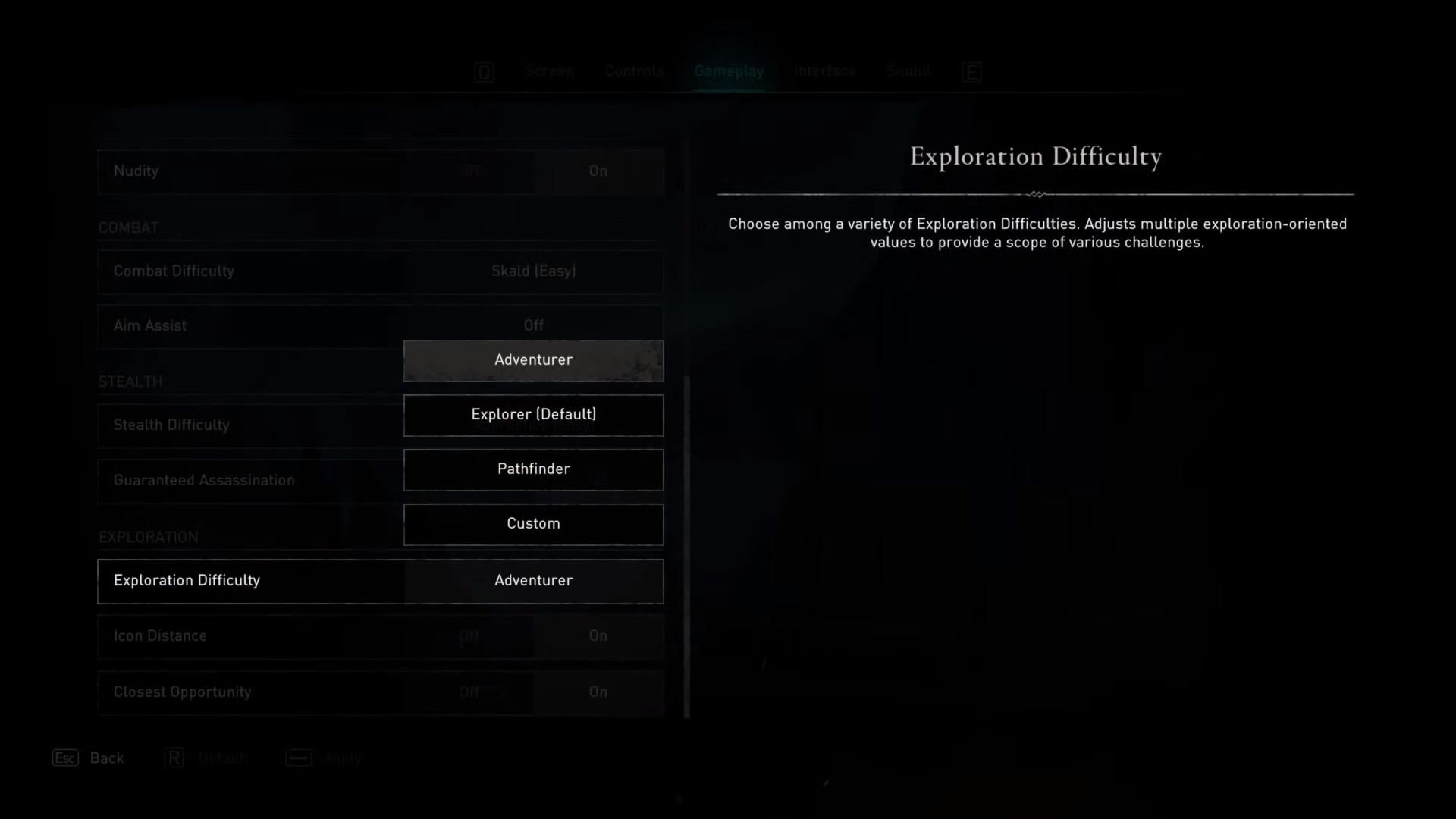 Exploration difficulty option in the gameplay options of Assassin's Creed Valhalla