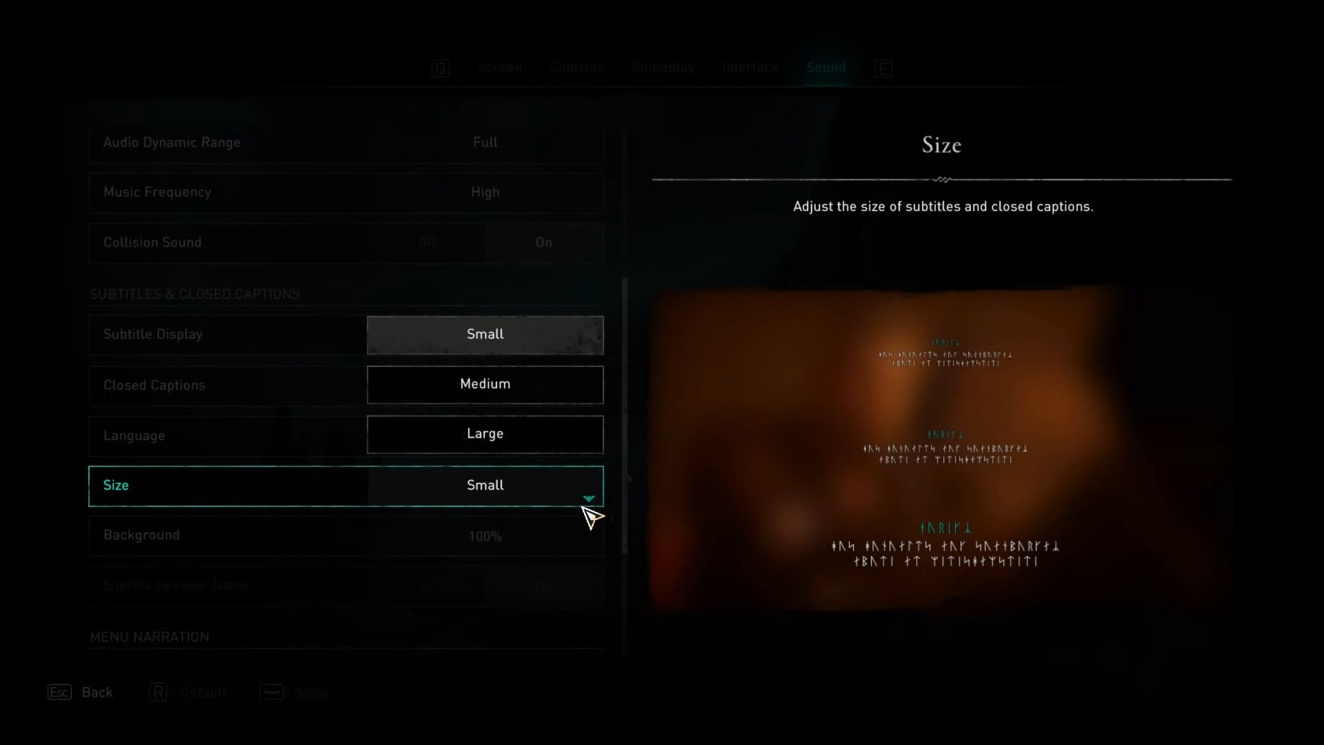 Size of subtitles in sound options of Assassin's Creed Valhalla