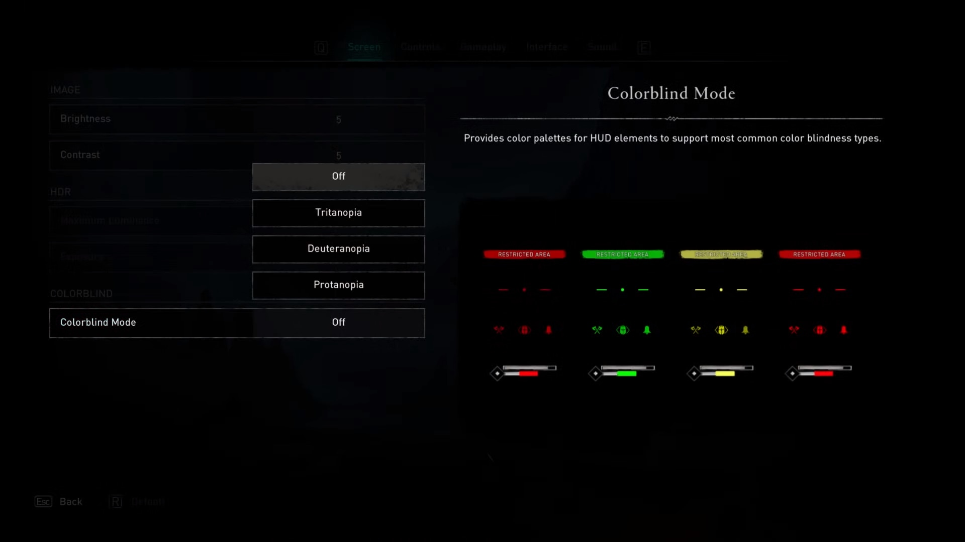 Colorblind mode option in the sound options of Assassin's Creed Valhalla