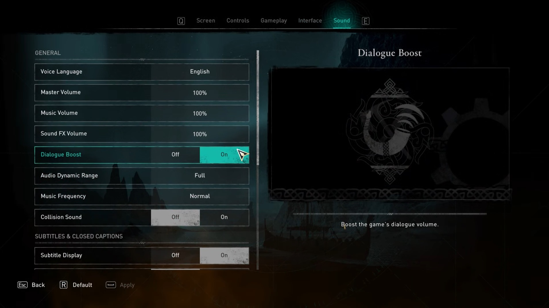 Turning dialogue boost off or on in settings