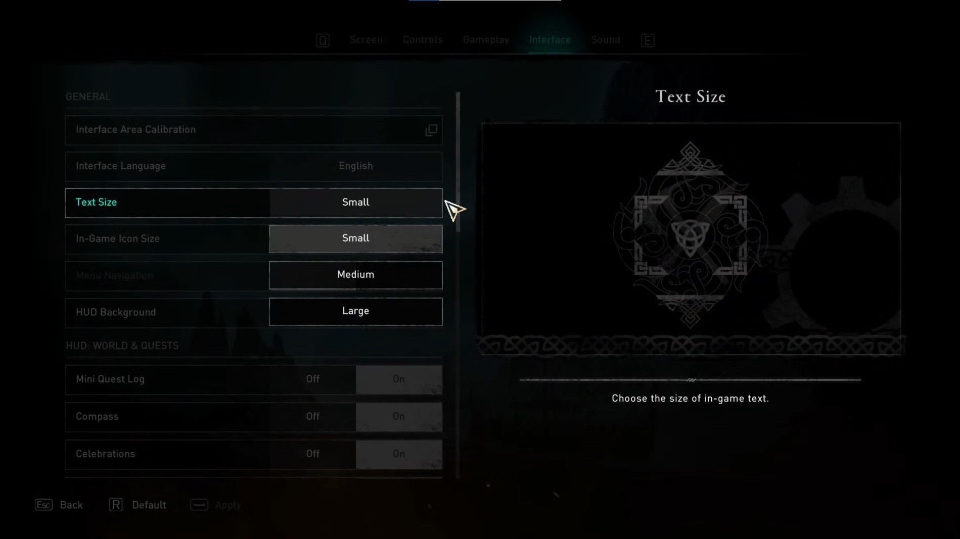 Change text size in settings