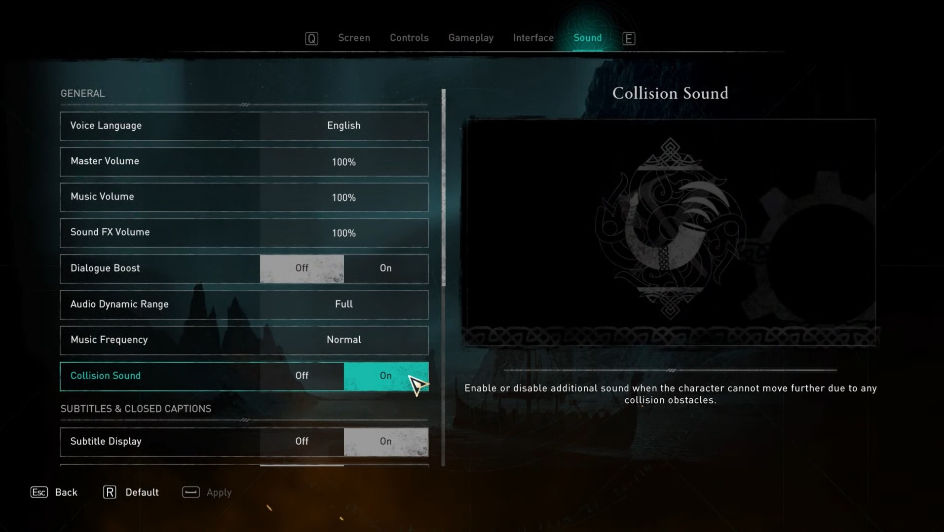 Collision sound in the in-game options