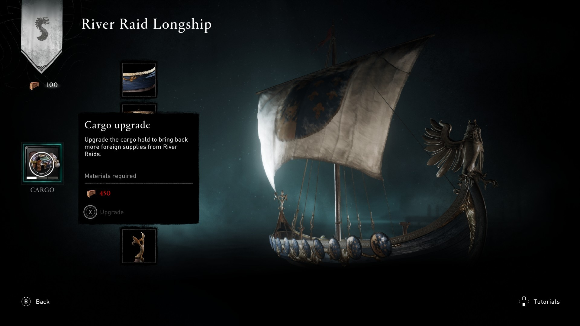 River Raid Longship Cargo Upgrade selected in menu.