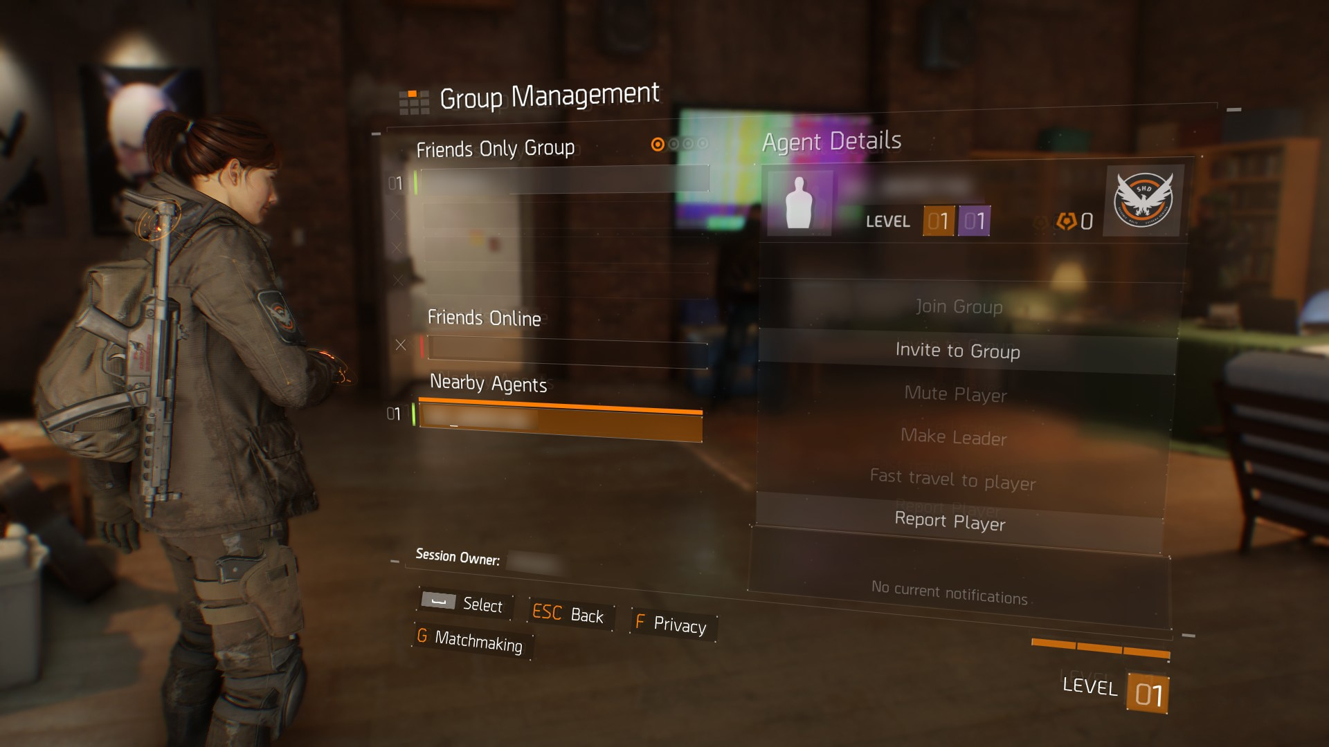 Player details in the Group Management menu