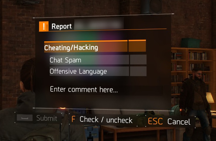 Report a player dialogue