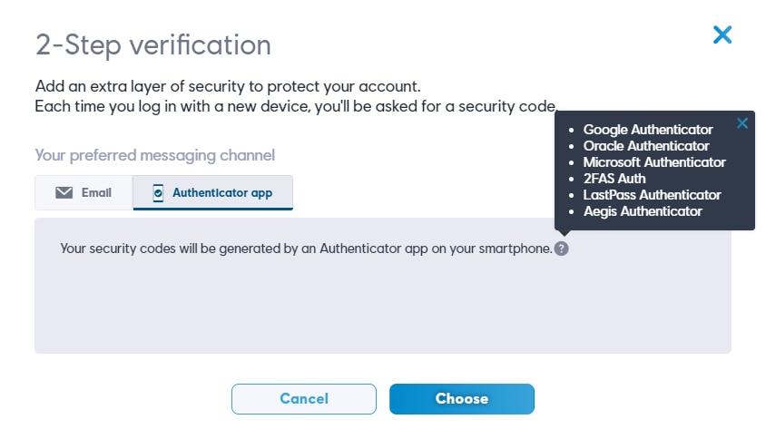 Options de l'application Authenticator